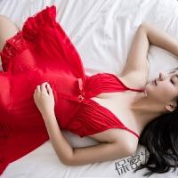 情趣女内衣 睡裙女透明薄纱欧美吊带睡衣火辣开挡