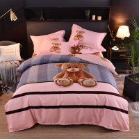 床上用品大版花磨毛加厚四件套�棉印花花卉三件套 2.0(200*230 四件套)