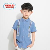 【满600减400】托马斯正版童装男童夏装纯棉短袖衬衫时尚卡通印花潮款上衣
