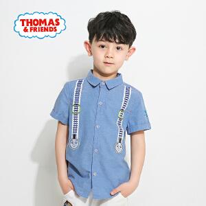 【满100减50】托马斯童装正版授权男童夏装纯棉短袖衬衫时尚卡通印花潮款上衣