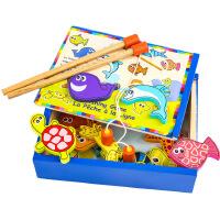 木制益智玩具 亲子儿童宝宝磁性钓鱼玩具套装盒装