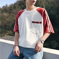 夏款男士圆领T恤纯色棉短袖港文艺韩版宽松三道杠体恤学生青年潮
