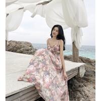 夏季温柔风仙女爱丽丝复古花朵高腰收腰气质V领吊带连衣裙长裙女