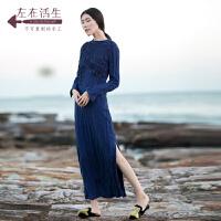 生活在左2018秋季新款女装棉麻连衣裙复古亚麻长袖修身优雅长裙子