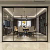 钛镁合金推拉门厨房窄边框玻璃门阳台卫生间太美钛铝镁合金划动移门隔断定制