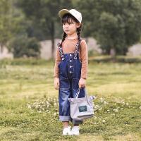 女童牛仔背带裤套装中大童洋气秋装儿童装秋季两件套