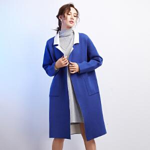 灏领衣尚欧美双面羊毛大衣针织衫中长款开衫女毛呢西装外套特惠