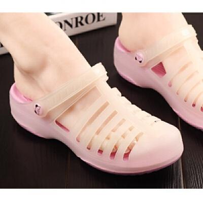 夏季玛丽珍洞洞鞋女厚底沙滩鞋轻便坡跟凉鞋软果冻护士凉拖鞋