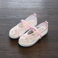 汉服鞋女童夏季凉鞋手工布鞋儿童国风绣花鞋公主鞋舞蹈鞋透气网鞋 魅力粉 2034