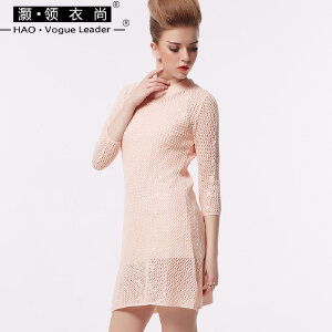 灏领衣尚春装女装七分袖套头修身毛线编织针织裙外穿修身女连衣裙