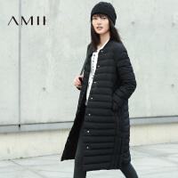【满200减100 上不封顶】AMII[极简主义]女冬新纯色显瘦分割直挺新大码羽绒服