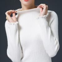 短款毛衣女半高领套头秋冬韩版木耳边修身保暖内搭紧身针织打底衫