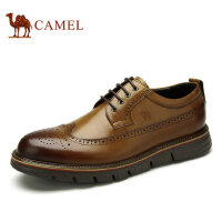 camel骆驼男鞋 春季日常休闲 布洛克雕花英伦休闲男皮鞋