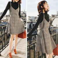 大码女装微胖mm秋冬新款网红两件套装洋气显瘦遮肉减龄连衣裙时髦 图片色