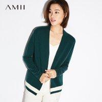 Amii[极简主义]2018秋装新款撞色下摆长袖开衫毛衣外套女11724572
