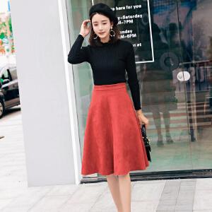 【用券立减100元】白领公社 半身裙 女士韩版新款时尚高腰包臀口袋牛仔短裙单色学生女式A字裙子
