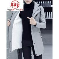 秋冬季风衣男青年中长款加厚韩版帅气棉衣学生修身款加绒棉袄潮牌