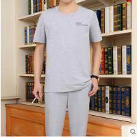 男短袖长裤圆领爸爸装休闲简约薄款棉运动套装男大码中老年运动服套装