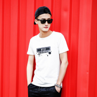 点就 纯棉短袖t恤男圆领宽松夏季韩版潮印花打底衫上衣VZTX17019
