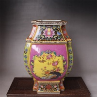大清雍正珐琅彩四方花鸟尊瓶 古董古玩 复古中式摆件仿古瓷器收藏