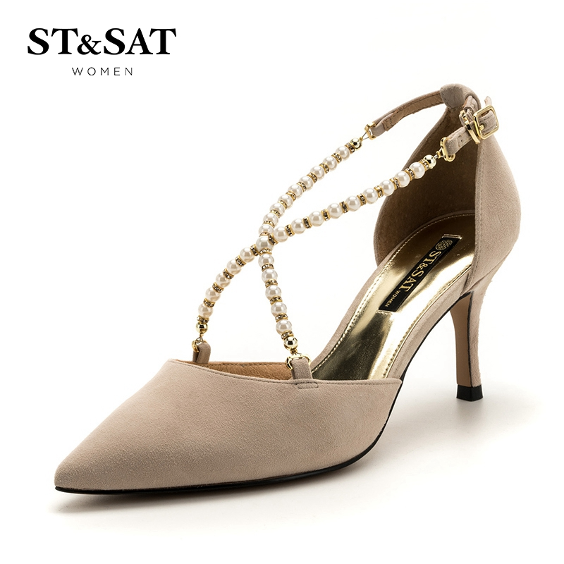 星期六(ST&SAT)夏季专柜同款绒面羊皮革细跟尖头时尚单鞋SS82114409