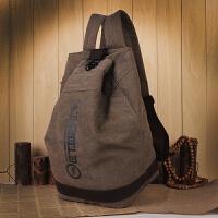 双肩包男士大容量韩版学生书包帆布水桶包休闲旅行背包时尚潮流包