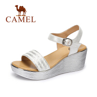 camel骆驼女鞋 夏季新款 时尚水钻坡跟凉鞋 防水台高跟凉鞋