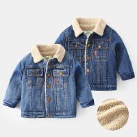 男童牛仔外套宝宝加绒上衣儿童夹克冬装