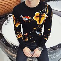 新款潮流圆领花毛衣发型师韩版男装个性修身针织衫青年秋冬装