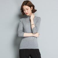 秋季针织衫女打底衫秋冬季套头毛衣修身半高领长袖羊毛衫薄款上衣