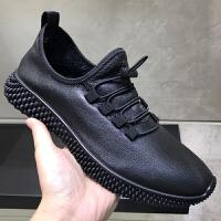 2019男鞋休闲皮鞋软底真皮透气牛皮单鞋运动鞋透气圆头徒步鞋春季 黑色