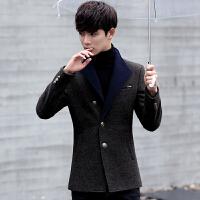 男士毛呢大衣英伦修身韩版中长款羊毛呢子大衣男秋冬外套男风衣