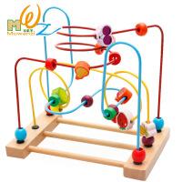 木丸子绕珠串珠榉木水果木制益智玩具开发手眼协调
