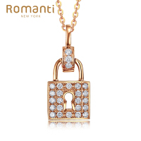 罗曼蒂珠宝18K玫瑰金钻石吊坠女款时尚简约款群镶钻石项坠锁需定制(不含链)