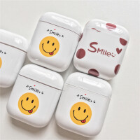 原创smile笑脸airpods保护套 苹果无线蓝牙耳机二代光面硬壳防尘
