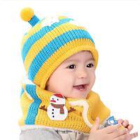 男女童帽子围脖2件套 宝宝韩版潮帽围脖2件套 婴儿帽子毛线针织帽围脖2件套男女儿童宝宝套头帽子围巾套装