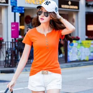 2017夏季新款女装上衣t恤韩版修身纯棉小衫短袖女T恤纯色潮ZY3850