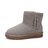 camel/骆驼女鞋 2017冬季新品 时尚舒适保暖防滑短靴休闲平跟流苏雪地靴