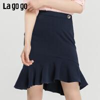 【新品5折价125】Lagogo2019夏季新款时尚高腰半裙女a字不规则雪纺短裙IABB234A45