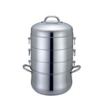 蒸锅不锈钢三层复底不串味蒸汽锅电磁炉通用28cm