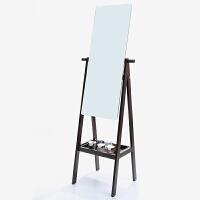 大豪 镜子 实木穿衣镜 落地镜子 试衣镜 收纳旋转穿衣镜 M-01 黑胡桃色 36X145厘米