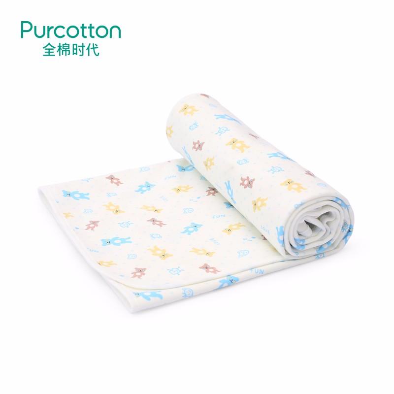 全棉时代  蓝色波点玩具熊匹印花针织复合尿垫70X90cm,1条装