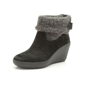 Clarks/其乐女鞋2017秋冬新款坡跟休闲保暖短靴Nice Sound专柜正品直邮