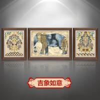 欧式装饰画客厅三联画美式玄关壁画沙发背景墙餐厅挂画吉祥象有框SN4618 大套左右60*70+中间90*70 单幅价格