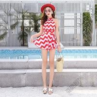 夏季裙式连体泳衣女 韩版条纹保守女士泳装一件