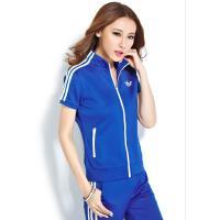 时尚韩版运动套装女立领开衫显瘦跑步休闲服短袖长裤两件套 可礼品卡支付