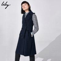 Lily春新款女装OL藏青双排扣系带收腰中长款马甲118359C0905