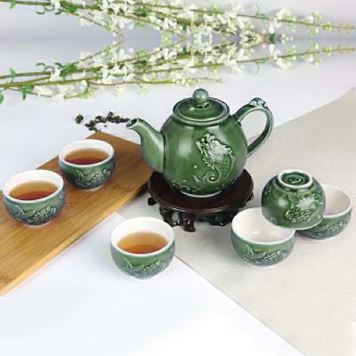 乾唐轩活瓷鱼跃龙门茶具1壶1海6杯创意陶瓷功夫茶具茶壶茶海茶杯组合套装