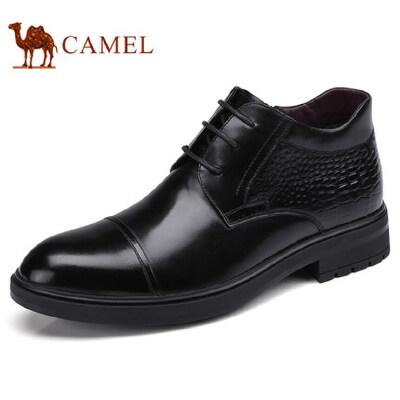 camel 骆驼男鞋 冬季新款商务休闲皮鞋系带舒适真皮皮靴男