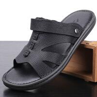 男士凉鞋真皮夏季休闲两用凉拖鞋牛筋底透气男士防滑沙滩鞋子
